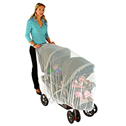 Nuby Mosquito Net for Baby Double Strollers, White, Universal Size, Tandem Stroller Bug Cover, Weather Protection