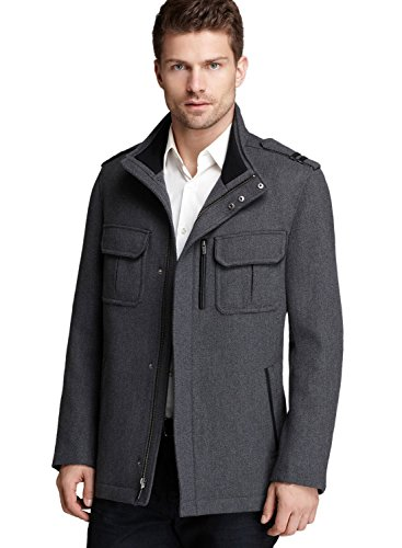 Cole Haan New York City Gray Wool Twill Jacket Large Lambskin Leather Trim