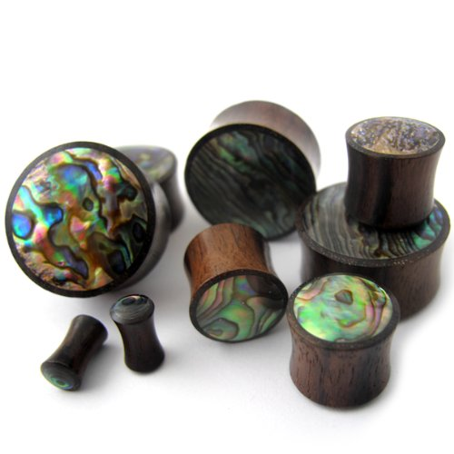 Abalone Shell Inlay Plug - Urban Body Jewelry Pair of 5/8 (16mm) Gauge Abalone Shell Inlay Wooden Plugs - Double Flare (WD031)