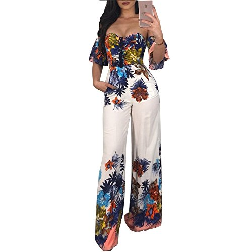 Womens Off Shoulder Floral Print Flare Bell Bottom Palazzo Pants Long Jumpsuits Romper Party Clubwear White 2XL