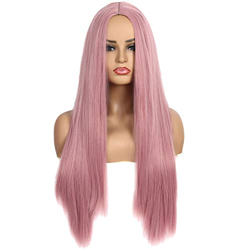 Qaccf Women's Long Straight Middle Part Synthetic Cosplay Costume Full Wig (Pink) ()