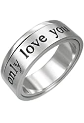 ONLY LOVE YOU - Love Ring / Promise Ring. Stainless Steel Commitment Rings for women rings for teens girls. Purity Ring or Anniversary I Love you Gifts