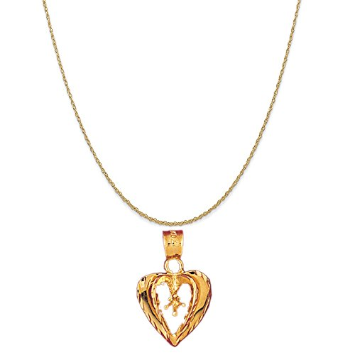 14k Yellow Gold Heart with Mounting Pendant on a 14K Yellow Gold Rope Chain Necklace, 18