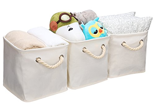 Storage Cube Organizer Bin With Strong Cotton Rope Handle,Storage Baskets Of Waterproof Cotton Fabric,Foldable Storage Cubes By StorageWorks, Natural, Medium (Cube), 3-Pack, 10.6x10.6x11.0 inches (Foldable Storage Baskets)