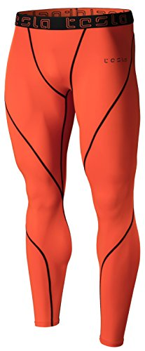 TM-MUP19-ORG_X-Large Tesla Men's Compression Pants Baselayer Cool Dry Sports Tights Leggings MUP19