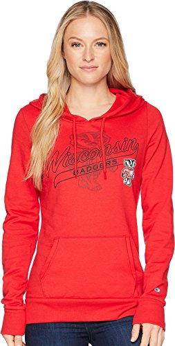 Badger Fleece Sweatshirt - Champion College Women's Wisconsin Badgers Eco University Fleece Hoodie Scarlet Medium