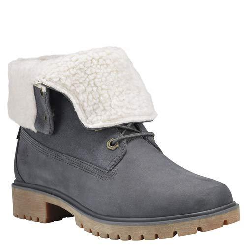 Timberland Women's Jayne Waterproof Teddy Fleece Fold Down Fashion Boot, Dark Grey Nubuck, 9 M US
