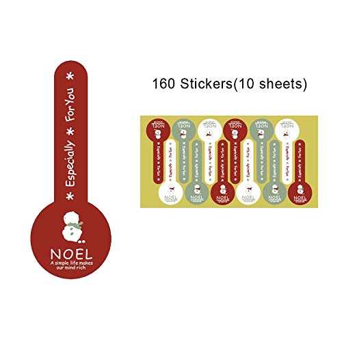 Noël Seal Stickers étiquettes pour bocaux Cadeau Cake Box Package 150Stickers