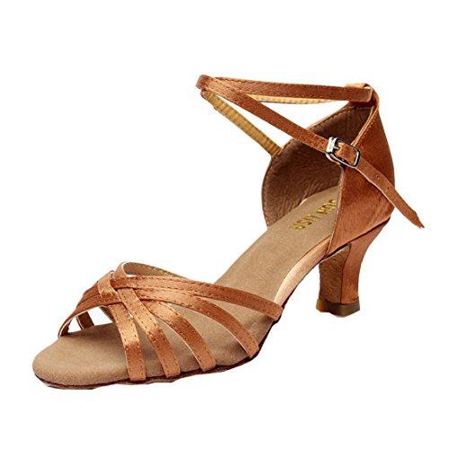 DorkasDE Damen Mädchen Tanzschuhe Latein Tanzschuhe Ballsaal Latein Tanz Schuhe mit 5/7cm Absatz Braun 5cm Absatz