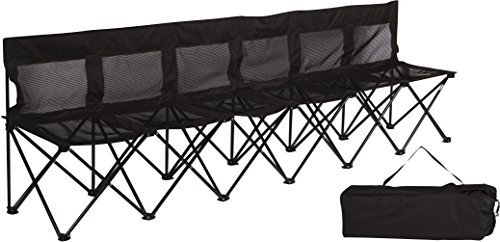 Portable Sports Bench With Mesh Seat and Back - Sits 6 People - By Trademark Innovations