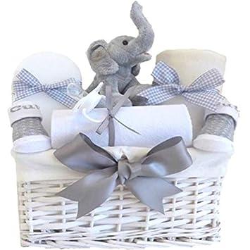 My First Teddy Elephant Baby Hamper Unisex For Newborns Grey Shower