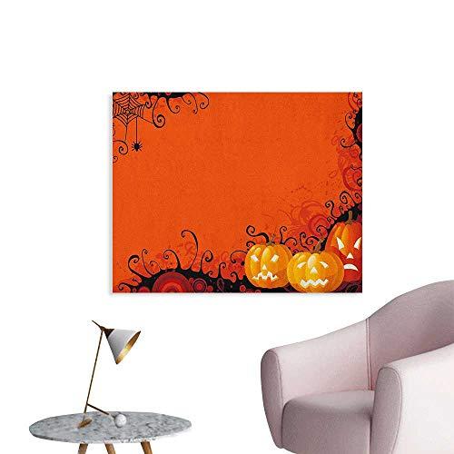 Anzhutwelve Spider Web Photographic Wallpaper Three Halloween Pumpkins Abstract Black Web Pattern Trick or Treat Funny Poster Orange Marigold Black W36 xL32 -