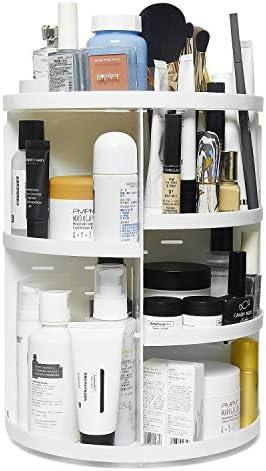 Gonioa 360 Rotating Makeup Organizer, Adjustable Makeup Carousel Spinning Holder Storage Rack. Cosmetic Organizer Makeup Holder Shelf. Vanity Organizers for Bedroom, Bathroom, Makeup Brushes, White