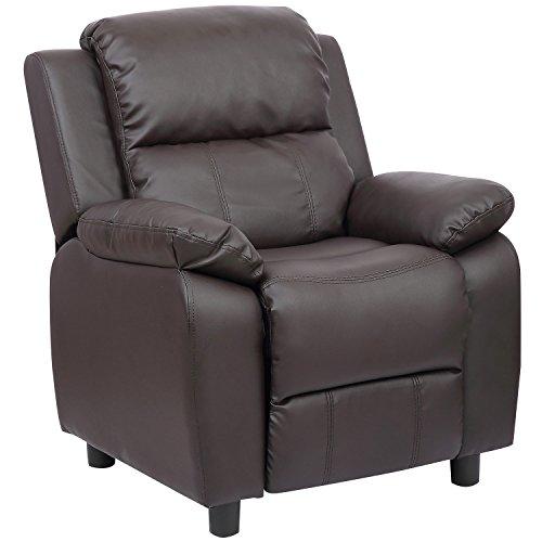 Merax Kids Recliner Chair Sofa PU Leather Dark brown by Merax