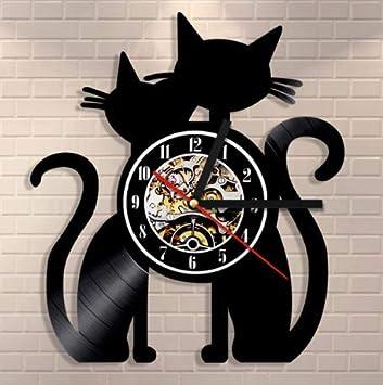 Yanshu Reloj de Pared de Vinilo 1 Pieza de Silueta de Gatos Reloj Reloj de Pared Decoración Vintage Hecho A Mano Gran Regalo para El Amante del Gato 12 ...