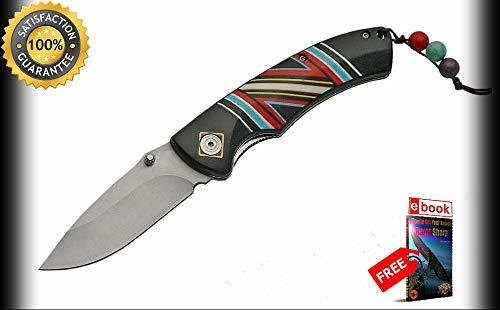 FOLDING POCKET Sharp KNIFE 4.5'' Silver Blade Black Native American Tribal Spirit EDC Combat Tactical Knife + eBOOK by Moon Knives