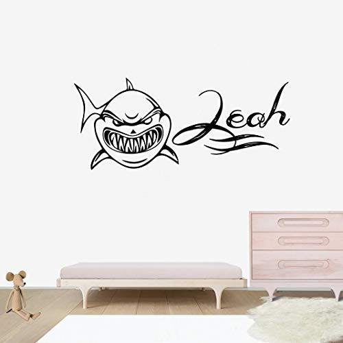 Personalized Name Wall Decal - Shark of The Sea Silhouette Wall Decal Vinyl Sticker Nursery for Home Bedroom Children