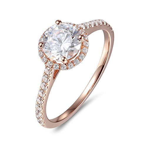 Lamrowfay 1ct Round Brilliant Cut Solitaire Cubic Zircon CZ Engagement Ring in 14K Gold, 1.80cttw (Rose-Gold, 7)