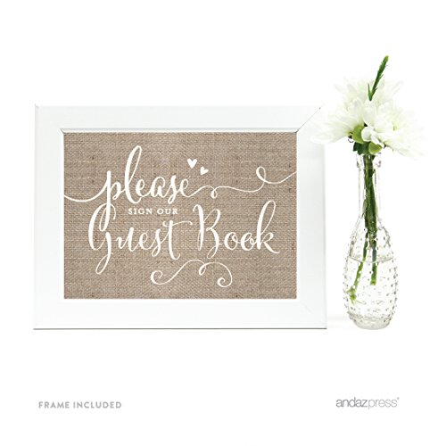 (Andaz Press Wedding Framed Party Signs, Country Burlap Printed Cardstock, 5x7-inch, Please Sign Our Guestbook, 1-Pack, Includes Frame)