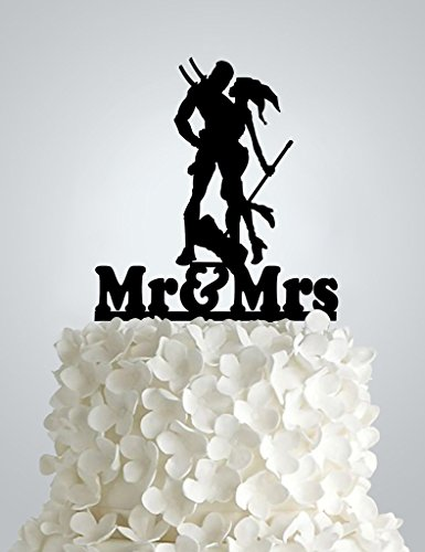 Acrylic Wedding cake Topper - Harley Quinn & Deadpool