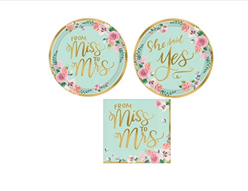Miss to Mrs Bridal Wedding Shower Paper Plates and Napkins Party Pack Bundle – Disposable Tableware Set Includes From…
