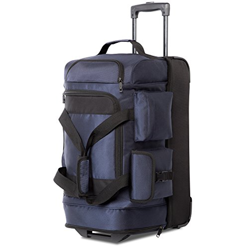 Large Duffel Roller - Coolife Rolling Duffel Travel Duffel Bag Wheeled Duffel Suitcase Luggage 8 Pockets