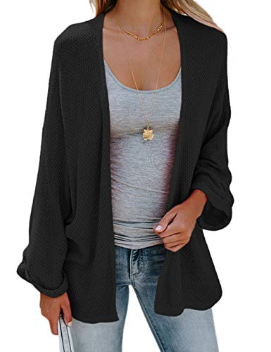 eeve Open Front Knit Oversized Dolman Sleeve Cardigan Sweaters Black S ()