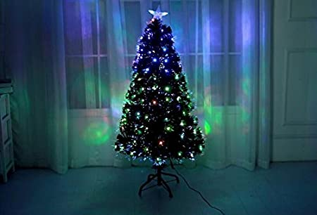 e1f07c2d76aef Hampton   Stewart Fabulous 4 5 6 7 FT Led  Fibre Optic Xmas Tree Pre Lit  Green Blk White Christmas (Black