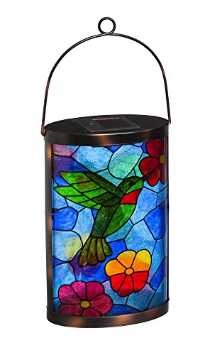 (New Creative Tiffany Inspired Hummingbird Hanging Solar Lantern)