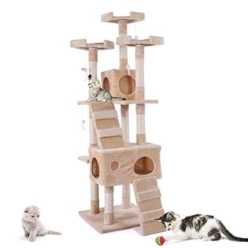 Cheap Tobbi 67″ Cat Tree Tower Condo Play House Pet Scratch Post Kitten Furniture Beige