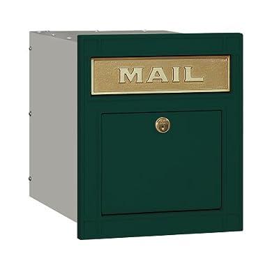 Salsbury Industries 4145P-GRN Cast Aluminum Locking Plain Door Column Mailbox