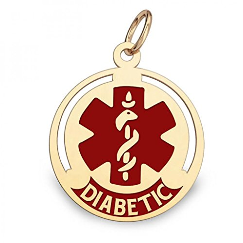 "14K Gold Round Medical ""Diabetic"" Charm W/ Red Enamel - 1/2 Inch X 1/2 Inch (very Small)"