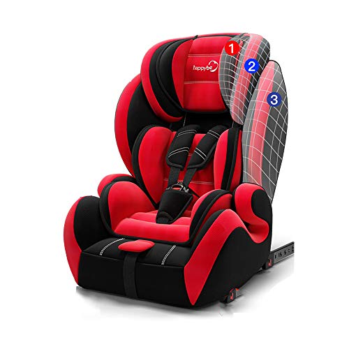 YOTAYA Child Safety Seat Car with Integrated All-Inclusive Baby Car 9 Months-12 Years Old Universal Versatile Convertible Car Seat,Red ()