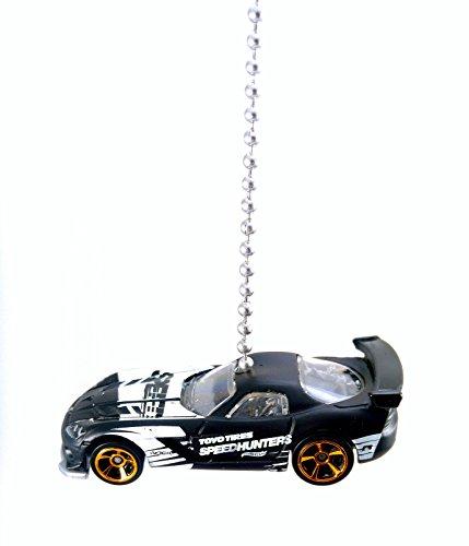 DGE Diecast Ceiling Fan Pulls, Light Pulls, Christmas Ornaments, Pendants - Hot Wheels 1:64 (2015 Dodge Viper SRT10 ACR - Black) (Plymouth Lighting)