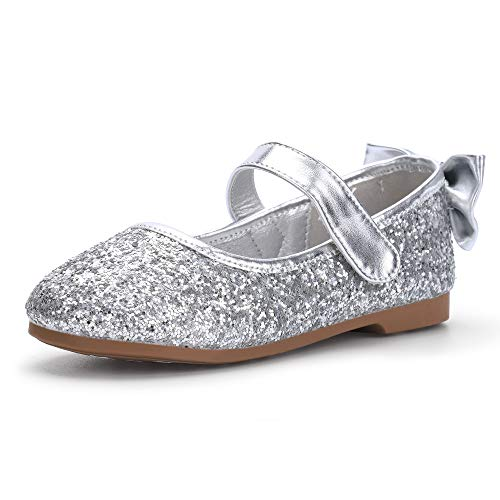 PANDANINJIA Girl's Shoes Toddler Little Girls Angela Ballet Flat Dress Shoes Mary Jane Party Wedding School Shoes Silver(Flower Girl/Little Kid)