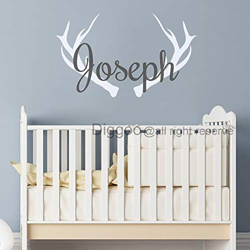 Hunting Wall Decal Deer Antlers Decal Personalized Boys Name Wall Decal Baby Room Rustic Nursery Decor (21.5