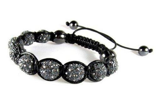 Sparkling Gray Rhinestone Ball Bead Adjustable Drawstring Bracelet in Gift (Sparkling Beaded Bracelet)