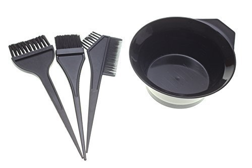 Dye Set (1 Set of 4pcs Hair Dye Coloring Brush Comb Bowl Barber Salon Tint Hairdressing)