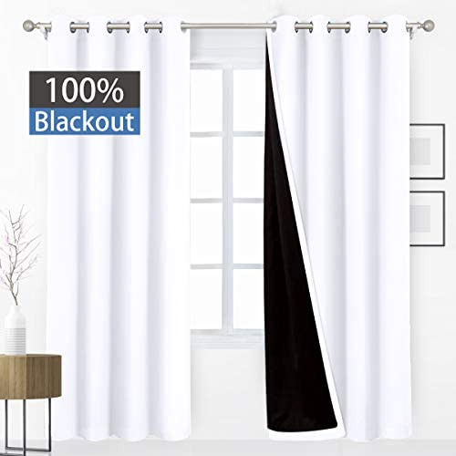 HOMEIDEAS 100 Blackout Curtains 52 X 96 Inch Long 2 Panels White Full Light Blocking Curtains, Energy Saving Thermal Insulated 2 Layers Thick Black Liner Curtains for Bedroom
