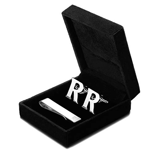 FIBO STEEL Initial Cufflinks and Tie Clip Set for Men Alphabet Letter Wedding Business Gifts Set with Box R