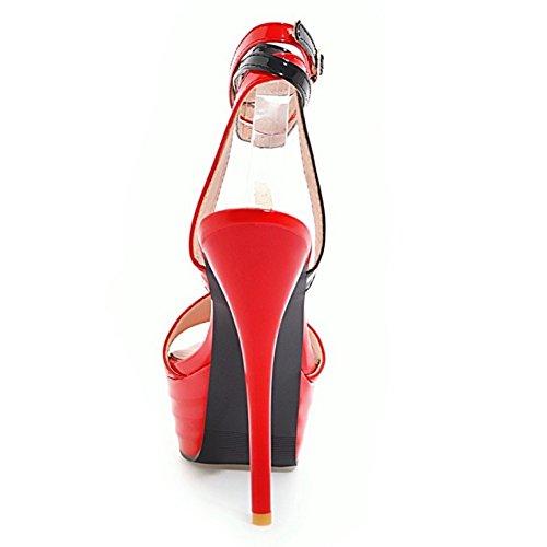 Mode À La Plate 25 Sandales Rouge Talons forme Coolcept Femmes Aiguilles De pOqYpP