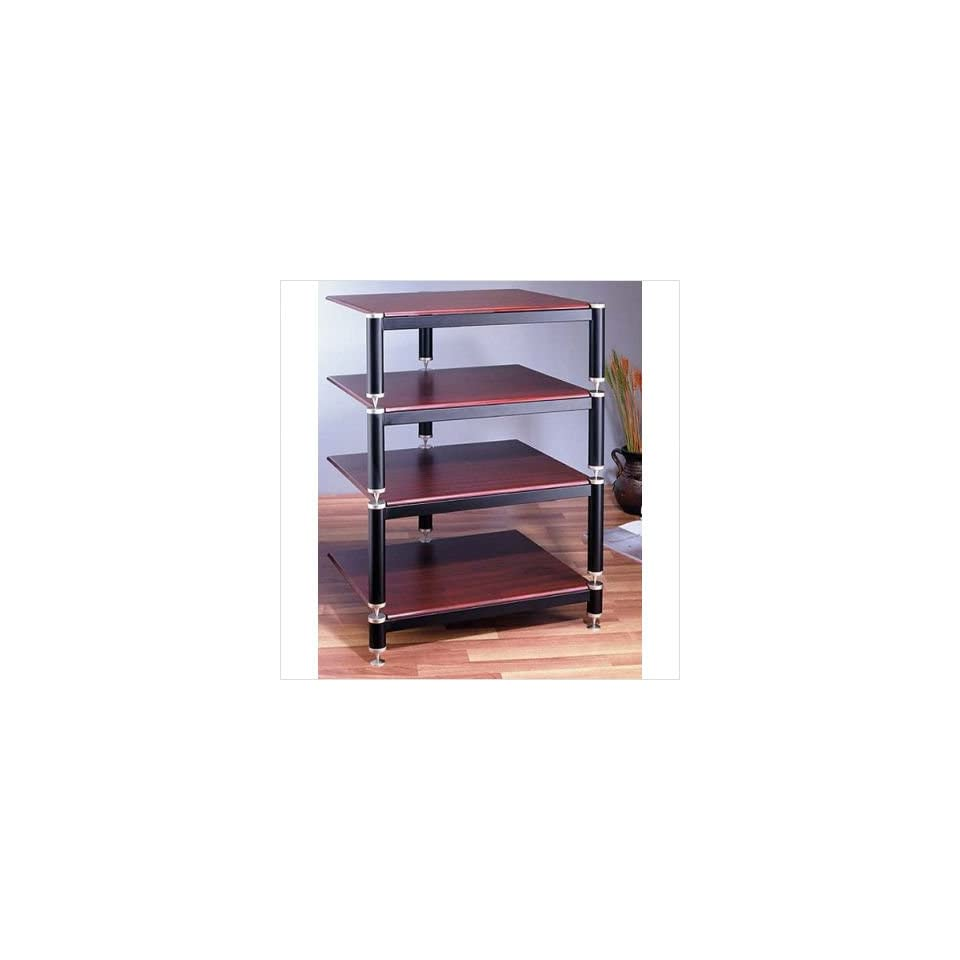 VTI BL304 BL Series 4 Shelf Audio Rack Shelves Cherry, Poles/Caps Black Poles/Gold Caps