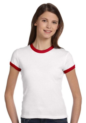 (Bella Girls 5.8 oz., 1x1 Baby Rib Short-Sleeve Ringer T-Shirt - WHITE/PINK - S)