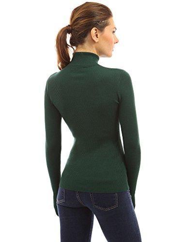 maglione Verde pulsante v coste a Donne Scuro collo PattyBoutik x0TgwI1g
