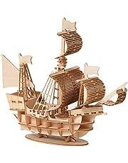 Houten schip modellen DIY houten puzzel bouwpakket 3D puzzel houten bouwpakket scheepsmodel zeilschip vlaggenschip houten model voor kinderen jongeren en volwassenen