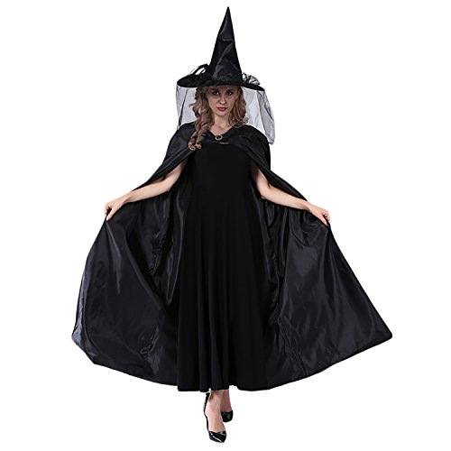 Witch Cape, Coxeer Wicked Wiches Cape Steampunk Cape Halloween Costumes for Women and Men (Black)