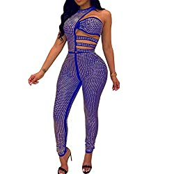 Rhinestone With Off-Shoulder Long Sleeve Hollow Out Blue Jumpsuit