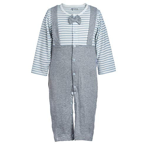 YECOOL Romper with Bow-tie Onesies Infant Boys Stripe Pajamas Newborn Coverall Onesie Long Sleeve 0-3 Month Size Blue