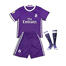 Real Madrid 2017 Soccer Jerseys Uniform Purple Ronaldo No.7 Away Kids Youth Football Shirt +Short+Socks