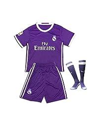 Real Madrid 2017 Soccer Jerseys Uniform Purple Ronaldo No.7 Away Kids Youth Football Shirt +Short+Socks